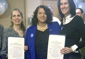 Assemblywoman Michaelle C. Solages (center) honors Julie Bouchet-Horwitz, the milk bank's executive director and Dr. Lauren Macaluso